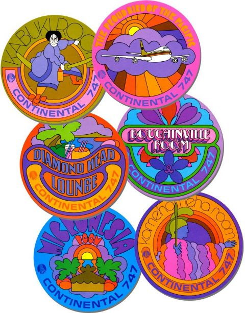 Psychedelic  Coasters Set Of 6. Vintage  747 Airline Reproduction. High Quality Cork. Travel